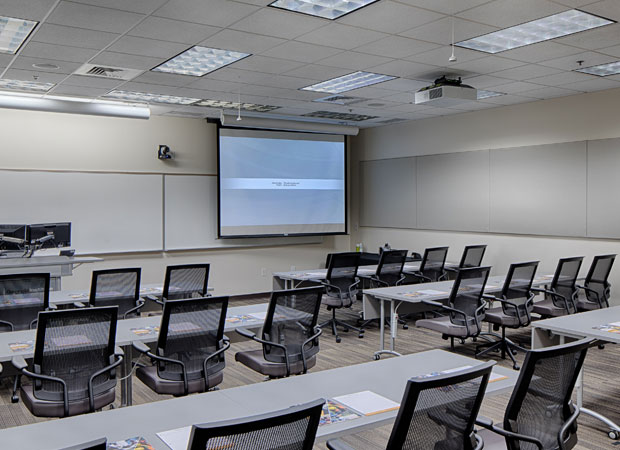 Georgia Tech-Savannah classroom with video screen pulled down