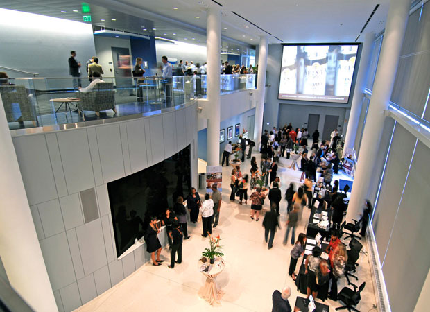 Arial shot of the Atrium during a crowded event