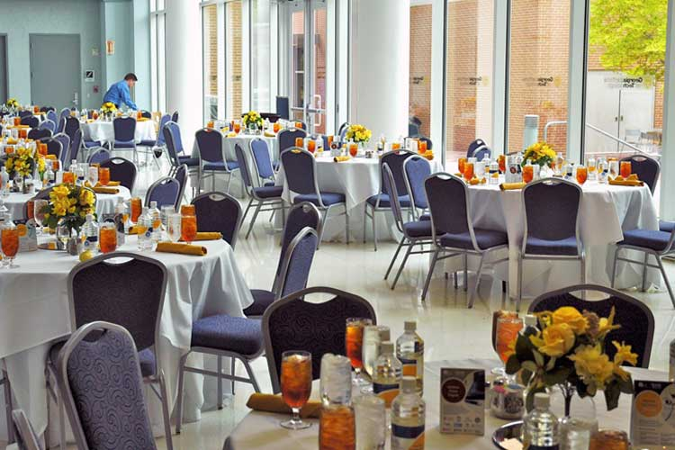 Plated luncheon set up in Atrium