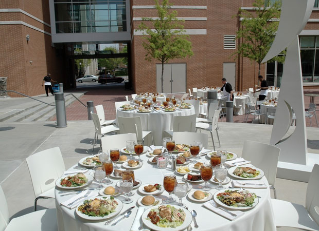 The Global Learning Center courtyard setup for a plated dinner