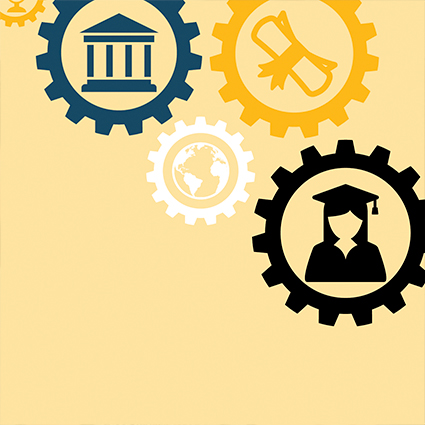 Animation of gears representing the world, a university building, a diploma, and a graduate