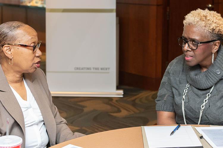 Mentor and Mentee discussing mentorship goals at MentorTech kickoff