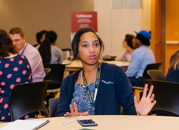 Female Georgia Tech employee participating in a workplace learning signaure program
