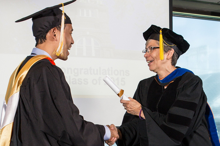 Professional learner graduate receiving diploma