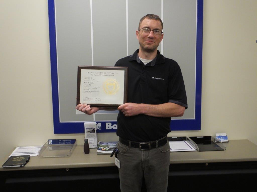 Chantrey Reece holding Manufacturing Leadership Certificate