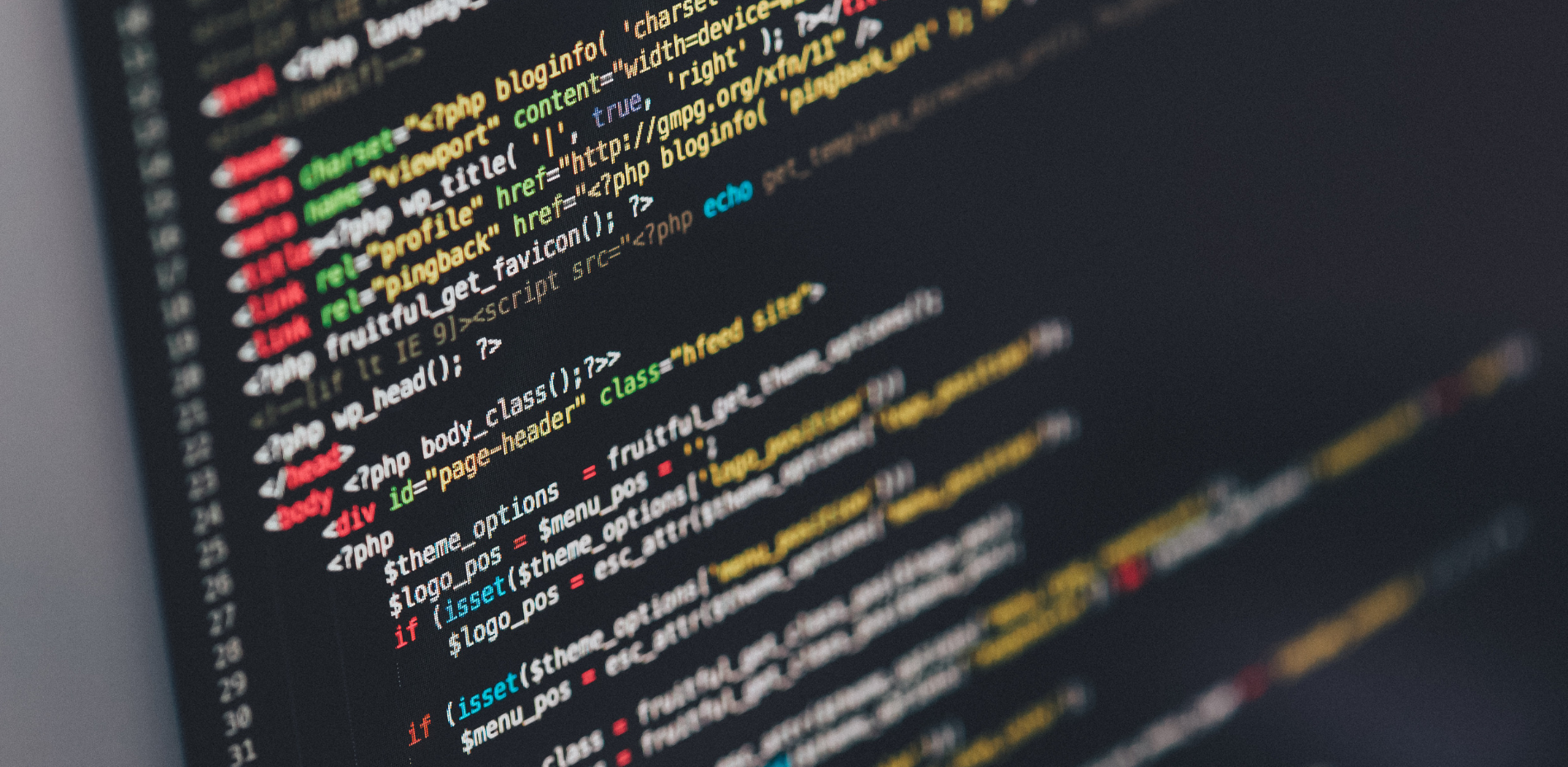 Lap top computer displaying html code