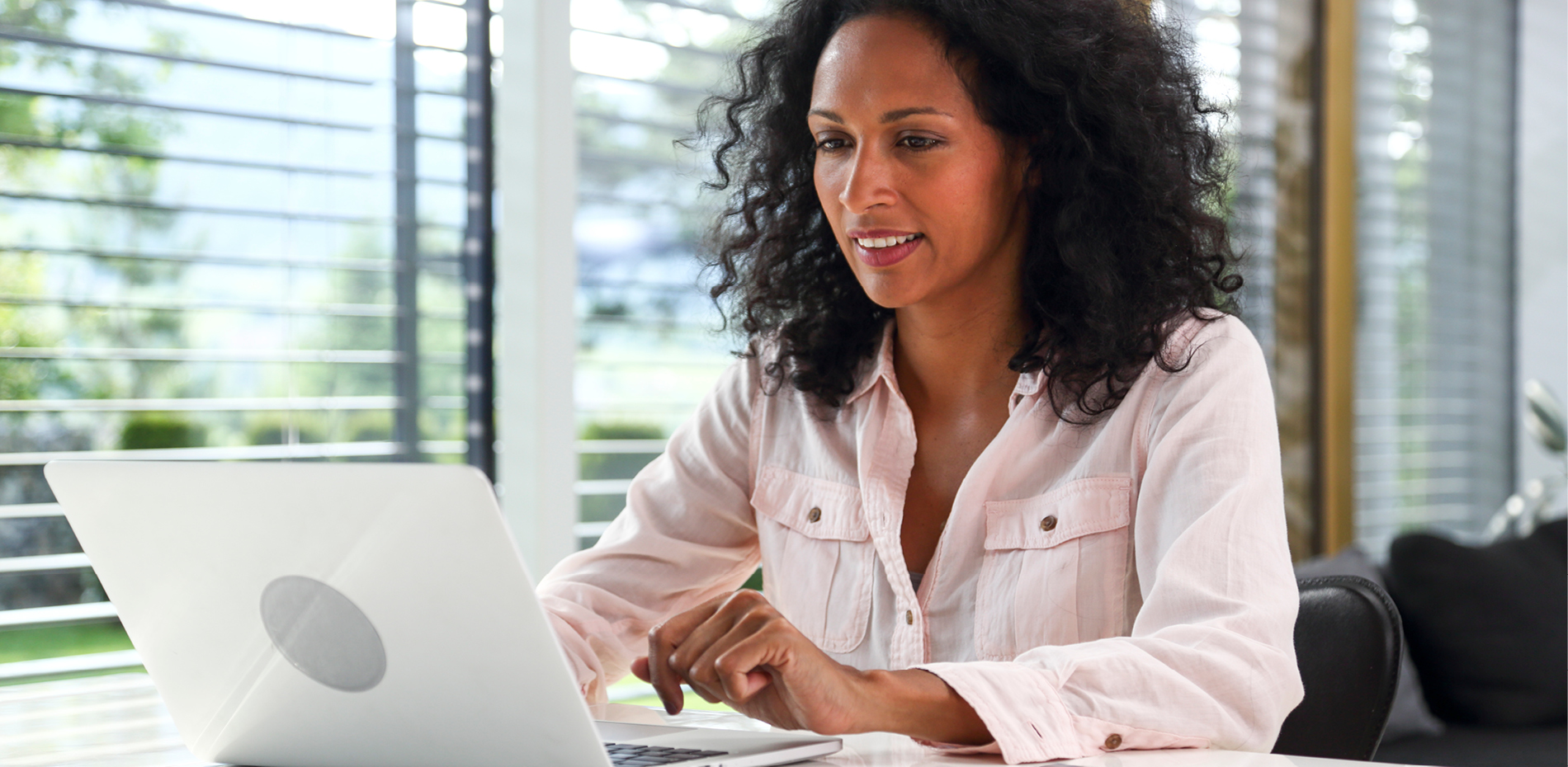 Female learner working on computer