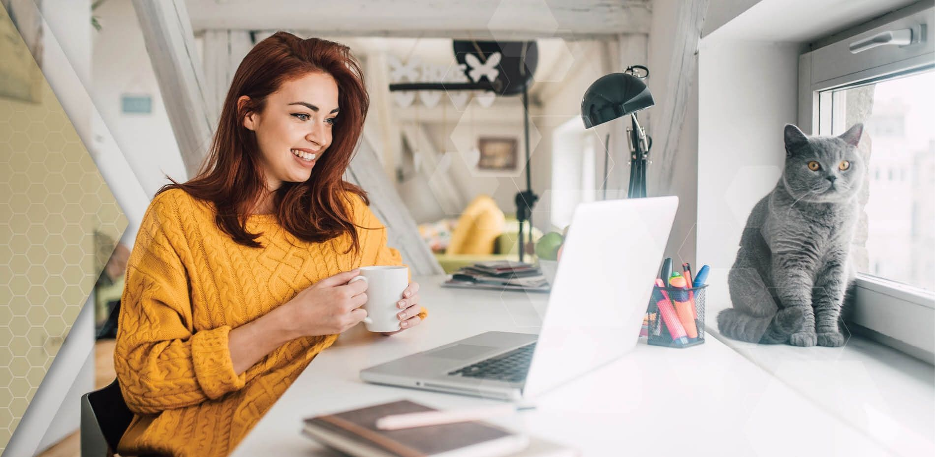 Working professional supporting her mental wellbeing by taking a break from working from home to drink coffee with her cat.