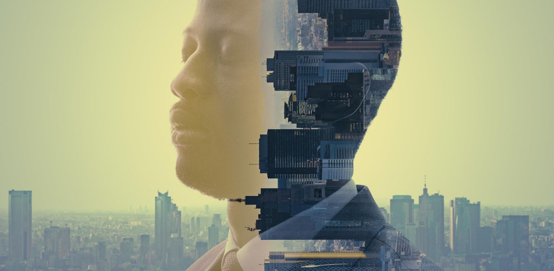 Mindful leader practicing meditation overlooking city