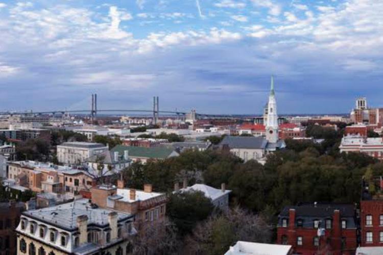 Arial view of downtown Savannah
