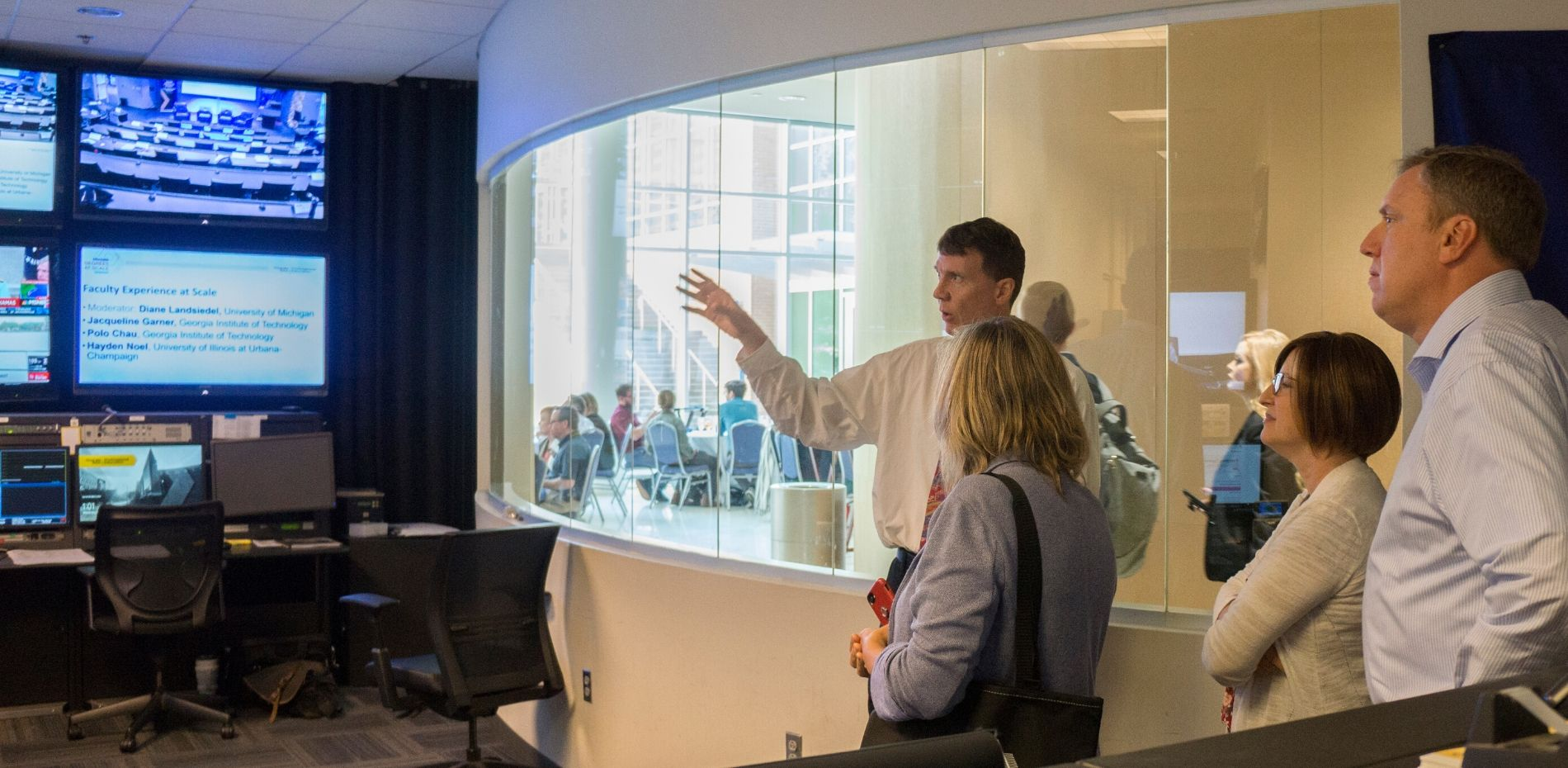 Ed Bailey, online instructional media supervisor, providing symposium attendees an inside-glimpse of the studio where Georgia Tech's online and distance learning programs are produced.