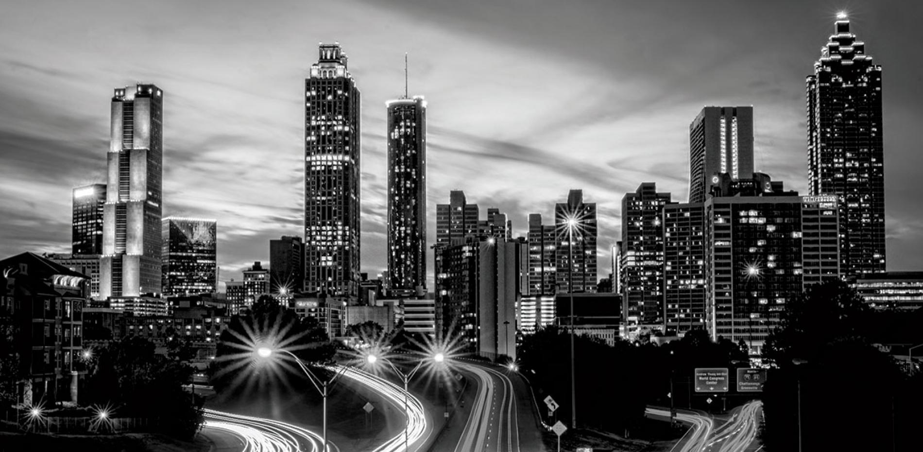 Black and white shot of a city skyline