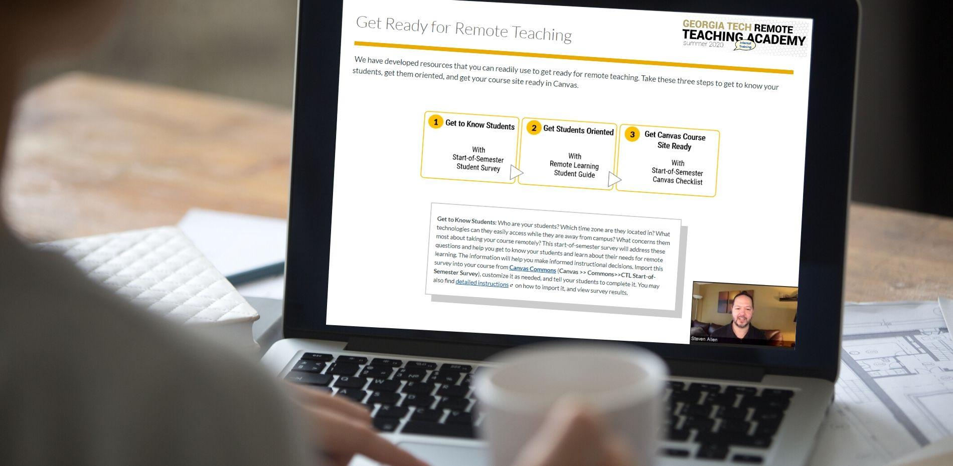 Laptop with remote teaching academy to prepare for remote instruction