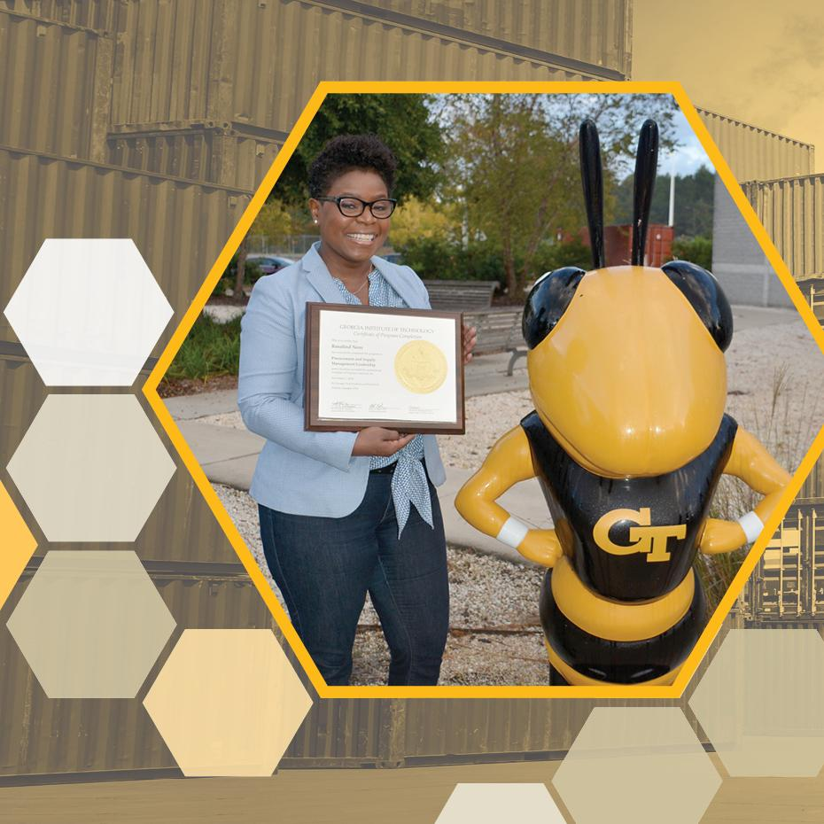 Procurement specialist, Roz Nero, poses with Georgia Tech Procurement and Supply Management Leadership Certificate