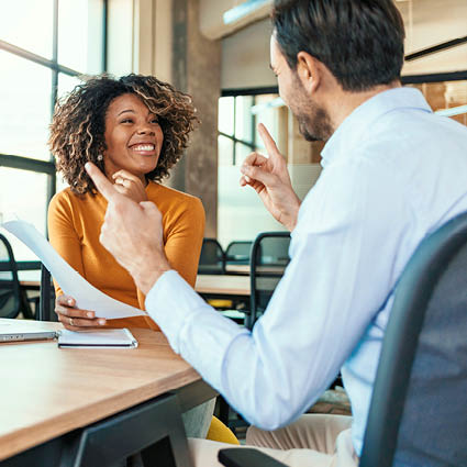 Mentor and Mentee discussing mentorship goals