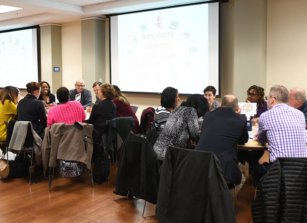 Professional Development Circle members meeting around a circular table