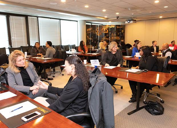 Mentors and Mentees discussing mentorship goals at MentorTech kickoff