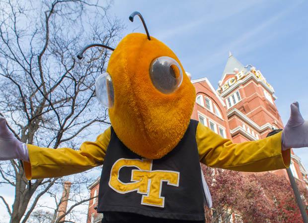 Georgia Tech's mascot, Buzz, in front of the Georgia Tech Tower