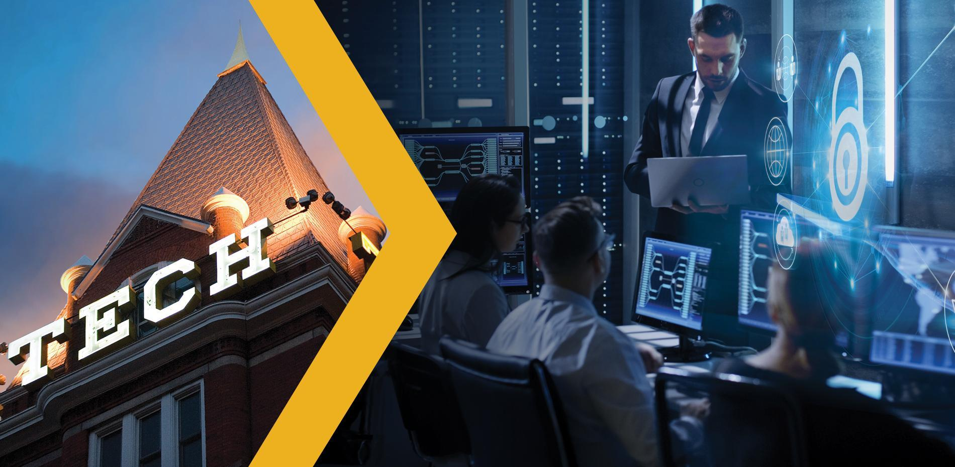 Tech Tower and group of cyber professionals working in front of computers