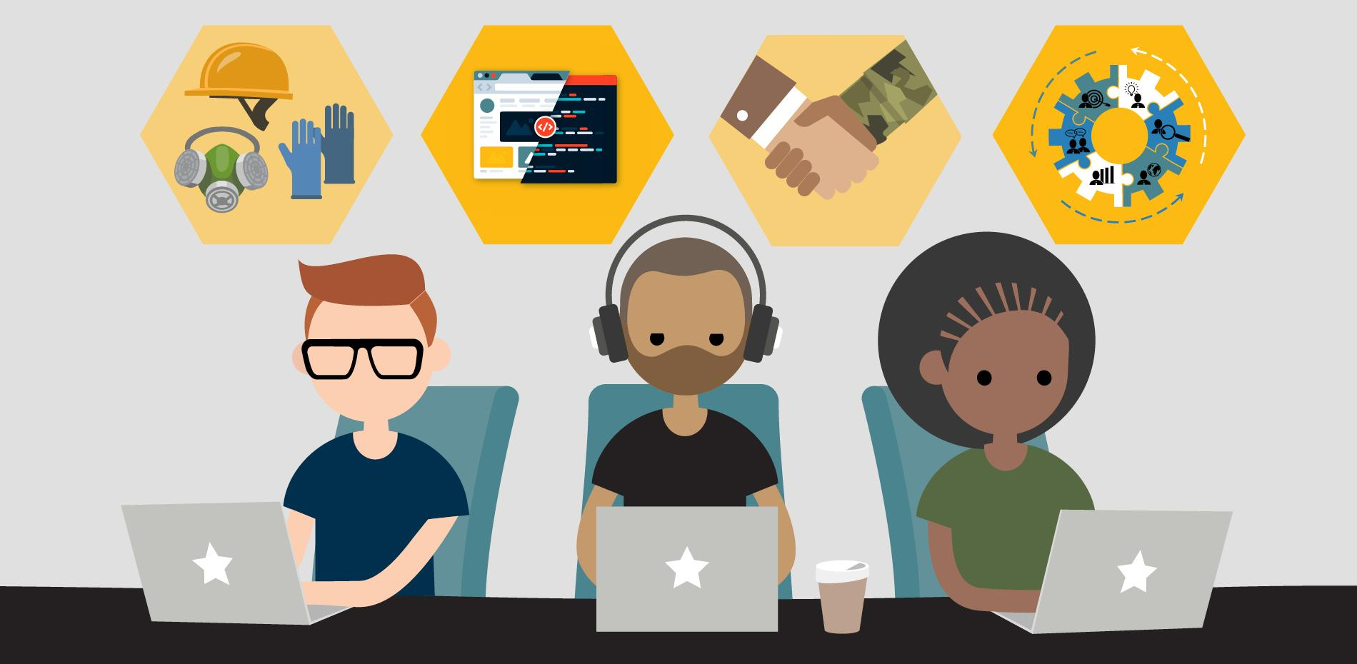 Three animated individuals of varying ethnicities and genders sit in front of laptop computers. Above them are graphics that represent OSHA, coding, veteran training, and project management.