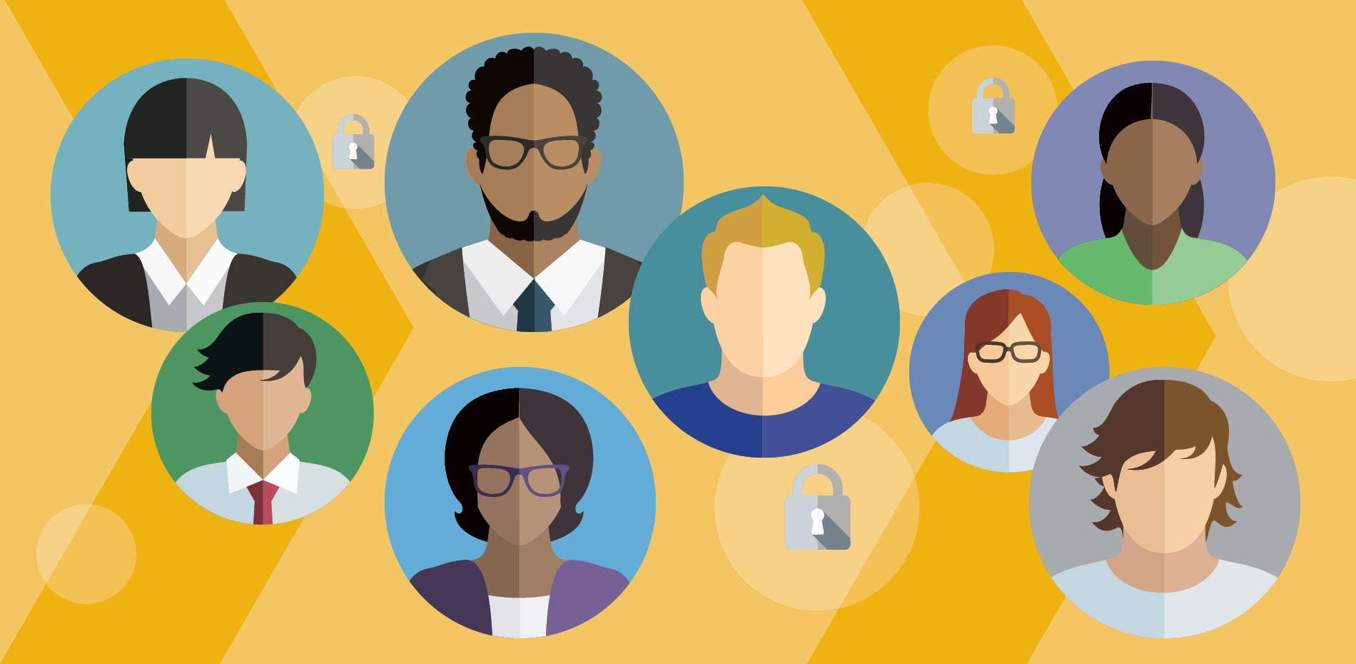 Diverse group of professionals against a yellow chevron background surrounded by security locks.