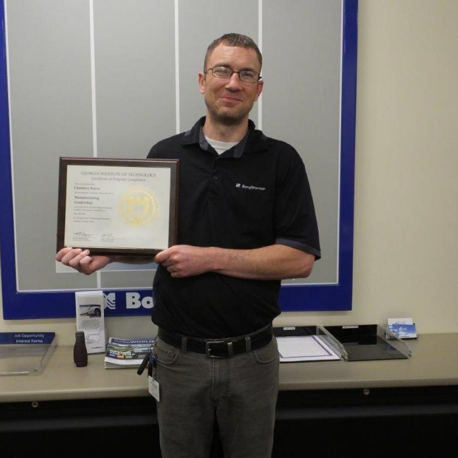 Chantrey Reece holding Manufacturing Leadership Certificate