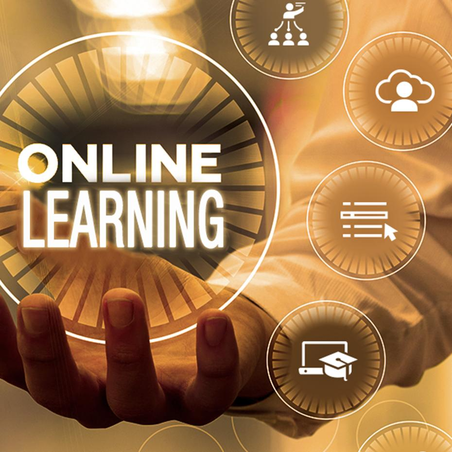 Outstretched hand holding a circle that says online learning. Surrounding are icons that represent lifelong learning.